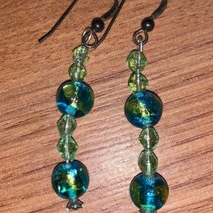 Silver and dangle beads pair of earrings new
